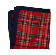 100% Silk Pocket Square - Navy & Red Plaid Design 12.5 x 12.5