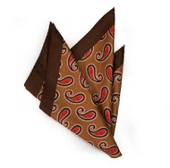 100% Silk Pocket Square - Copper Tones with Big Red Paisleys 12.5 x 12.5