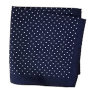 Silk Blend Pocket Square - Small Navy Polka Dot 12.5in x 12.5in