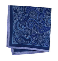 100% Silk Pocket Square - Blue & Lavender Paisley Design  12.5 x 12.5