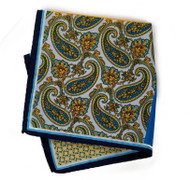 100% Silk Pocket Square - Yellow Paisley 4 Square Design 12.5 x 12.5