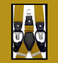 Convertible Button & Clip Stretch Braces - Suspenders - Gold