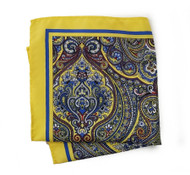 100% Silk Pocket Square - Yellow & Blue Paisley Design 12.5 x 12.5