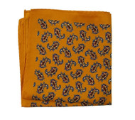 100% Silk Pocket Square - Amber Orange Paisley Design 12.5 x 12.5