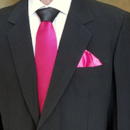 Antonio Ricci Contrasting Pleated Tie with Pocket Square - Fuchsia Pink