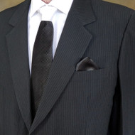 Antonio Ricci Contrasting Pleated Tie with Pocket Square - Black /White