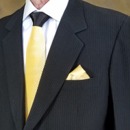 Antonio Ricci Contrasting Pleated Tie with Pocket Square - Yellow
