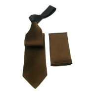 Antonio Ricci Contrasting Pleated Tie with Pocket Square - Brown