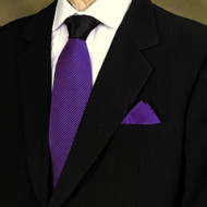 Antonio Ricci Contrasting Pleated Tie with Pocket Square - Dark Purple