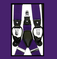 Convertible Button & Clip Stretch Braces - Suspenders - Purple