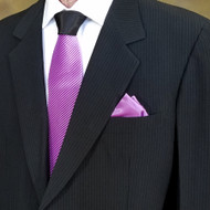 Antonio Ricci Contrasting Pleated Tie with Pocket Square - Light Purple
