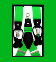 Convertible Button & Clip Stretch Braces - Suspenders - Bright Green