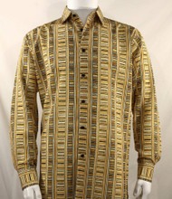 Bassiri Gold Line Art Design Long Sleeve Camp Shirt