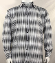 Bassiri Grey & White Blurred Line Design Long Sleeve Camp Shirt