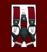 Convertible Button & Clip Stretch Braces - Suspenders - Burgundy
