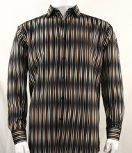 Bassiri Black & Brown Blurred Line Design Long Sleeve Camp Shirt