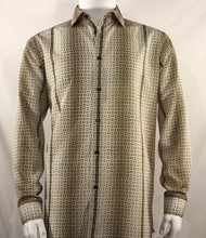 Bassiri Tan Petite Grid Pattern Long Sleeve Camp Shirt