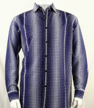 Bassiri Purple Petite Grid Pattern Long Sleeve Camp Shirt