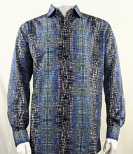 Bassiri Blue Cross-Hatch Design Long Sleeve Camp Shirt