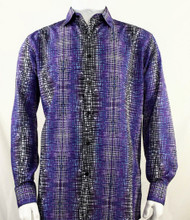 Bassiri Purple Cross-Hatch Design Long Sleeve Camp Shirt