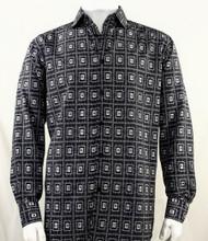 Bassiri Black Double Windowpane Pattern Long Sleeve Camp Shirt