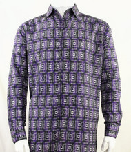 Bassiri Purple Double Windowpane Pattern Long Sleeve Camp Shirt