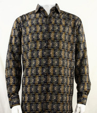 Bassiri Brown Double Windowpane Pattern Long Sleeve Camp Shirt