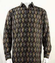 Bassiri Brown Double Windowpane Pattern Long Sleeve Camp Shirt