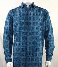 Bassiri Blue Double Windowpane Pattern Long Sleeve Camp Shirt