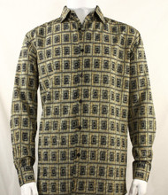 Bassiri Gold Double Windowpane Pattern Long Sleeve Camp Shirt