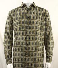 Bassiri Gold Double Windowpane Pattern Long Sleeve Camp Shirt