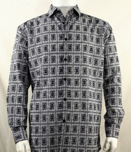 Bassiri Grey Double Windowpane Pattern Long Sleeve Camp Shirt