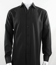 Bassiri Black Faded Stripe Weave Long Sleeve Camp Shirt