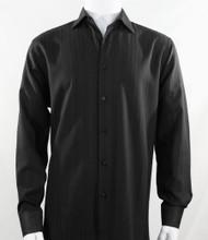 Bassiri Black Faded Stripe Weave Long Sleeve Camp Shirt