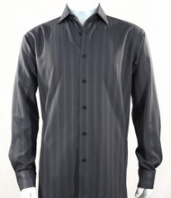Bassiri Grey Faded Stripe Weave Long Sleeve Camp Shirt