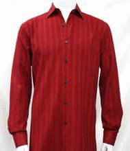 Bassiri Red Faded Stripe Weave Long Sleeve Camp Shirt