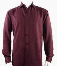 Bassiri Burgundy Faded Plaid Weave Long Sleeve Camp Shirt