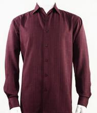 Bassiri Burgundy Faded Plaid Weave Long Sleeve Camp Shirt