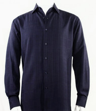 Bassiri Navy Faded Plaid Weave Long Sleeve Camp Shirt