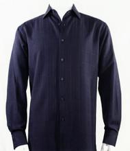 Bassiri Navy Faded Plaid Weave Long Sleeve Camp Shirt