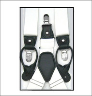 Convertible Button & Clip Stretch Braces - Suspenders - White