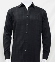 Bassiri Black Faded Plaid Weave Long Sleeve Camp Shirt