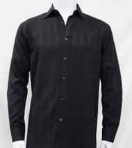 Bassiri Black Faded Plaid Weave Long Sleeve Camp Shirt