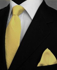 Antonio Ricci Satin Microfiber Diagonal Pleated Tie with Pocket Square - Yellow