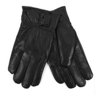 Men's Soft Genuine Calf Leather Winter Gloves with Lining Black