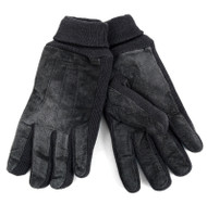 Men's Charcoal Genuine Suede Leather Winter Gloves with Lining