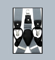 Convertible Button & Clip Stretch Braces - Suspenders - Silver Grey