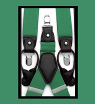 Antonia Convertible Button & Clip Stretch Braces - Suspenders - Green