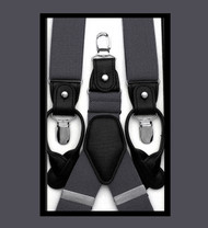 Antonia Convertible Button & Clip Stretch Braces - Suspenders - Charcoal