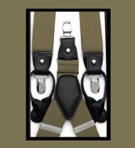 Antonia Convertible Button & Clip Stretch Braces - Suspenders - Khaki Tan